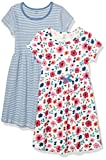 Touched by Nature Girls, Toddler, Baby and Womens Organic Cotton Short-Sleeve and Long-Sleeve Dresses, Garden Floral Short Sleeve, 18-24 Months