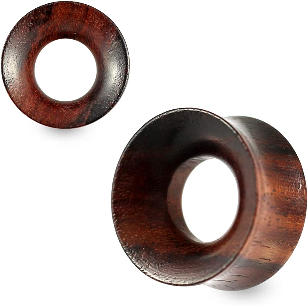 Double Flared Organic Natural Dark Iron Wood Tunnel Gauges Ear Plug Piercing Jewelry - Sold by Piece