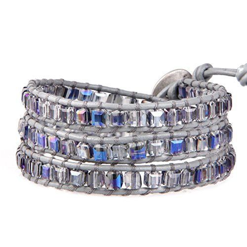KELITCH Charme Armbänder Frau Mädchen Original Leder Perle 3 Wickelt Armband Kristall Handgefertigt Schmuck Zum Mädchen