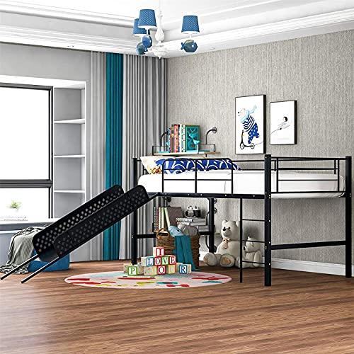 MWKL La más Nueva Cama Tipo Loft con tobogán, Estructura de Cama Alta de Metal con Escalera y barandilla, Cama Alta Baja para niños, Color Blanco