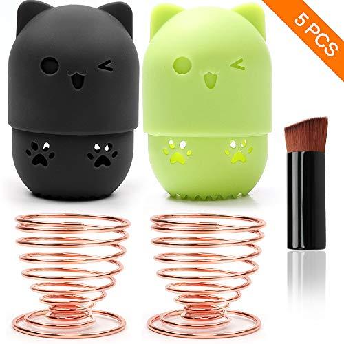 Porte-éponge de beauté SAYOPIN/Étui de transport en éponge de maquillage 2 * / Support de séchage pour mélangeur en éponge * et un pinceau de maquillage pour fondations.(Noir+Vert-01)