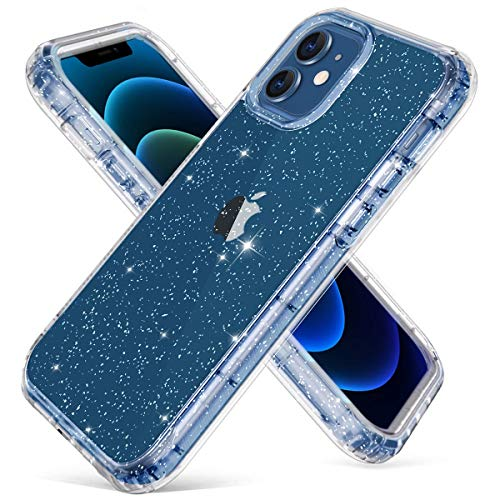 Hekodonk Compatible with iPhone 12 Case iPhone 12 Pro Case,Clear Design Glitter TPU Bumper Protective Silicone Shockproof Flexible Anti-Scratch Cover for Apple iPhone 12/12 Pro 6.1 2020 Bling Crystal