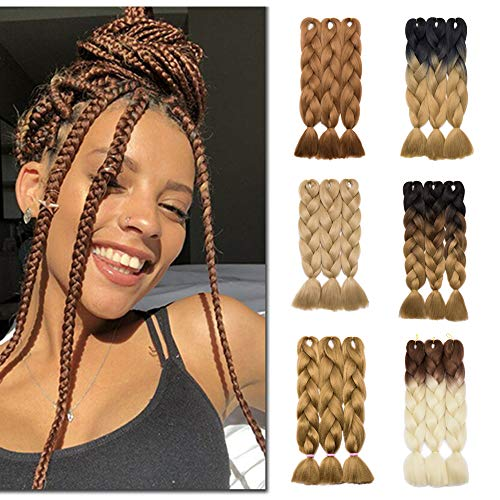 "[5packs] 24"" Ombre Jumbo Braiding Hair Extensions Multiple Tone Colorful Jumbo Box Braid Hair High Temperature Synthetic Twist Braiding Crochet Hair(24"",black to light brown to ash blonde)"