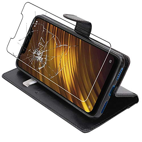 ebestStar - Cover Compatibile con Xiaomi Pocophone F1 Custodia Portafoglio Pelle PU Protezione Libro Flip, Nero + Pellicola Vetro Temperato [Apparecchio: 155.5 x 75.3 x 8.8mm, 6.18'']