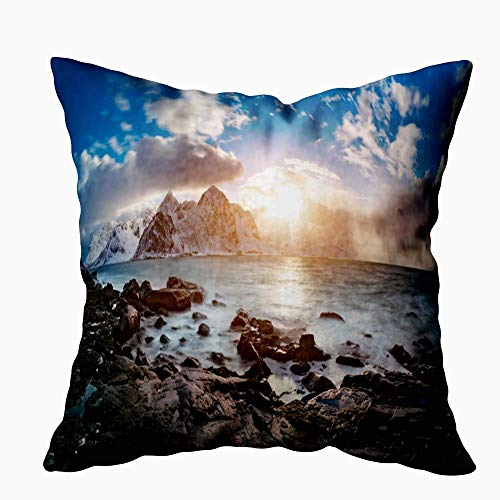 Gypsophila Kids Pillowcase Decoration, Outdoor Pillow Cases Sunrise Sea Cool Decorative Pillow Covers 18X18Inch for Sofa Home