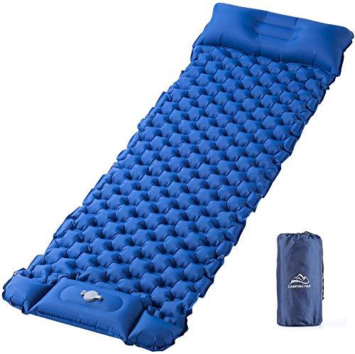 Isomatte Camping Aufblasbare Schlafmatte Fußpresse - Elegear Ultraleichte Luftmatratze Isomatte für Wanderungen Strand Outdoor Zelt, wasserdichte, Ideales Camping Zubehör Einzelne Größe