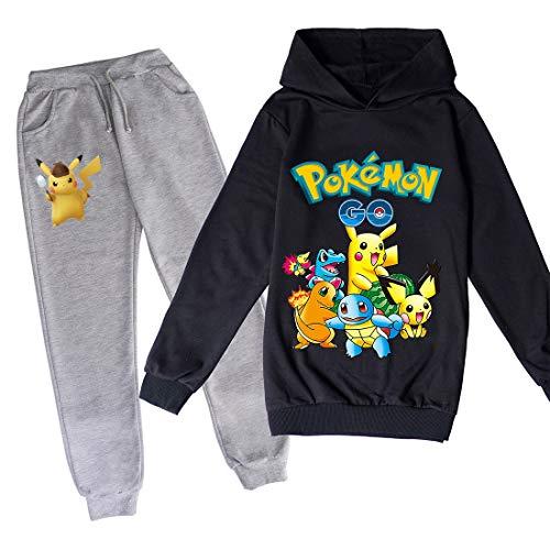 Proxiceen Pikachu - Conjunto de sudadera con capucha y pantalón de chándal para niños, diseño deportivo (A10,120)