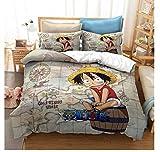 QGHZSCS Anime One Piece Juego de Cama Monkey D. Luffy Cartoon Funda nórdica Juego de Funda de Almohada Microfibra Suave y Transpirable con Cremallera, 200x200 Cm