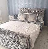 Diamond Sleigh Crush Velvet Upholstered Bed Frame 4ft6 Double (Grey 4ft6 Double)