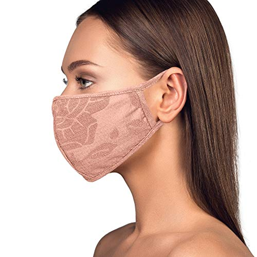 Cloth Face Mask Washable with Filter Pocket - Fashionable Women Designs are Washable, Breathable and Reusable - Soft Cotton Blend for Comfortable Protective Covering - Made in USA (Floral Mauve)