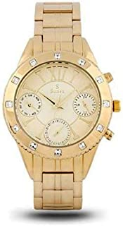 Sunex watch for women, analog, stainless steel, gold, gold dial, S6504GG