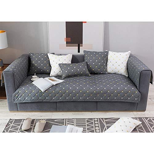 Homeen Sillón/fundas de cama de día, funda de sofá moderna de algodón, fundas de sofá de oficina, protector antideslizante, protector de sofá transpirable, funda de muebles, gris 70 x 180 cm