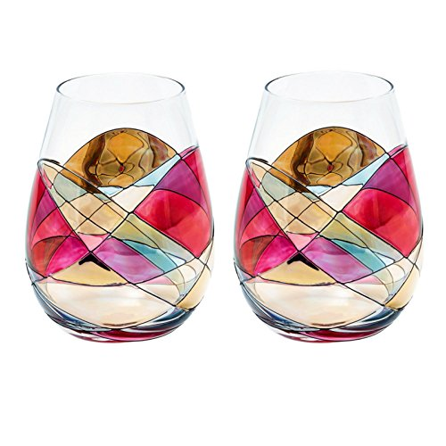 ANTONI BARCELONA Hand-Painted Stemless Wine Glass - Set 2 - Limited Drinking Glasses Drinkware Essentials Wine Tumbler Glassware Unique Gifts Ideas for Women Men Birthday Wedding Mom Dad Her Him