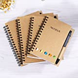 NUOLUX 4 Pack Spiral Notebook with Pen Sticky Lined Notes Page Markers Steno Notepad School Office Supplies