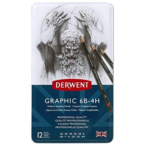 Derwent Graphic - Lápices de grafito (12 unidades, 6B - 4H, en estuche de metal), color negro