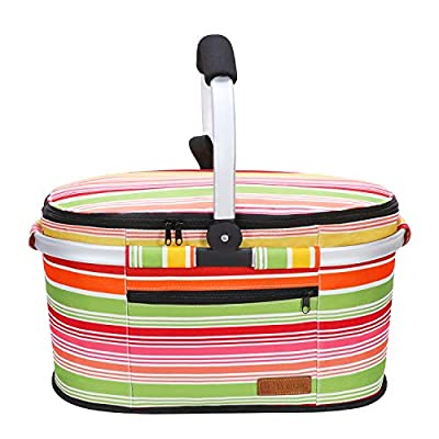 LIQING Insulated Picnic Basket Portable Collapsible Market Basket Stylish Large Picnic Tote with Aluminum Handle for Camping Travel Leakproof Lightweight Cooler Bag (Multicolored Stripe)
