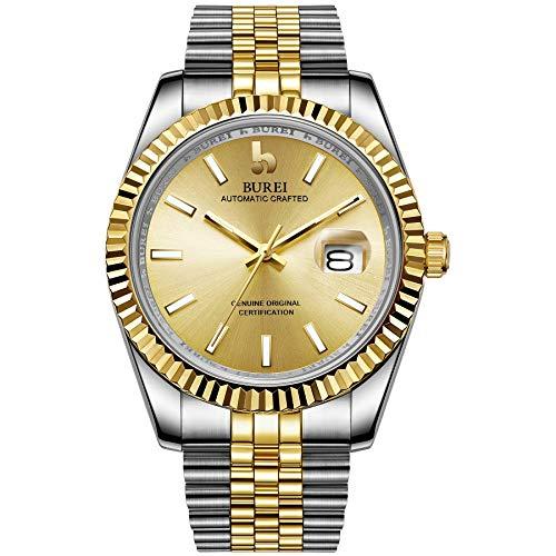 BUREI Herren Automatik Armbanduhr Elegantes Modell Klassisches Design Synthetisches Saphirglas Edelstahlband