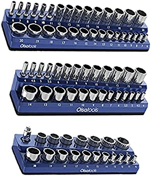 Olsa Tools Magnetic Socket Organizer | 3 Piece Socket Holder Kit | 1/2-inch, 3/8-inch, 1/4-inch Drive | Metric Blue | Holds 75 Sockets | Professional-Grade: image