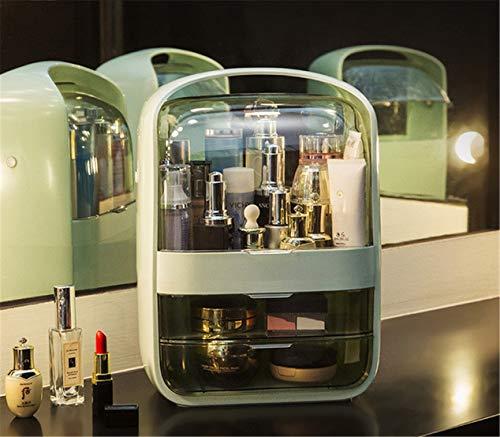 DSGYZQ Caja de Almacenamiento de cosmética Transparente Polvo a Prueba de Polvo Doctora de Escritorio Cuidado de la Piel Cuadro de Almacenamiento de Productos Portátil y portátil,Green 2,L