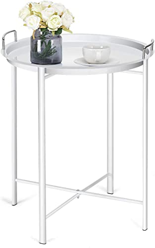 high quality Giantex Patio popular Coffee Table Side Table Steel Tray Under lowest Sofa Coffee Table for Living Room Waiting Room Bedroom Balcony End Table(White) online