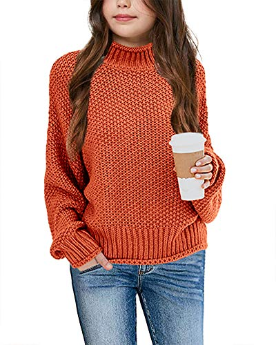 Imily Bela Girls Turtleneck Sweaters Kids Batwing Sleeve Knit Clothes Chunky Pullover Jumper Orange