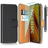 ivencase Cover per Xiaomi Poco X3 NFC + Pellicola Protettiva + Penna, Book Cover Custodia Flip Caso in PU Pelle Portafoglio Magnetica Porta Carta Cover per Xiaomi Poco X3 NFC - Nero