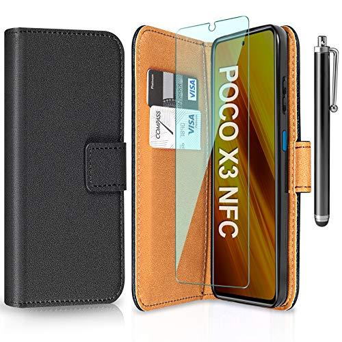 ivencase Funda Compatible con Xiaomi Poco X3 NFC con Protector de Pantalla und Pen, Libro Caso Cubierta la Tapa magnética Protector de Billetera Cuero de la PU Carcasa - Negro