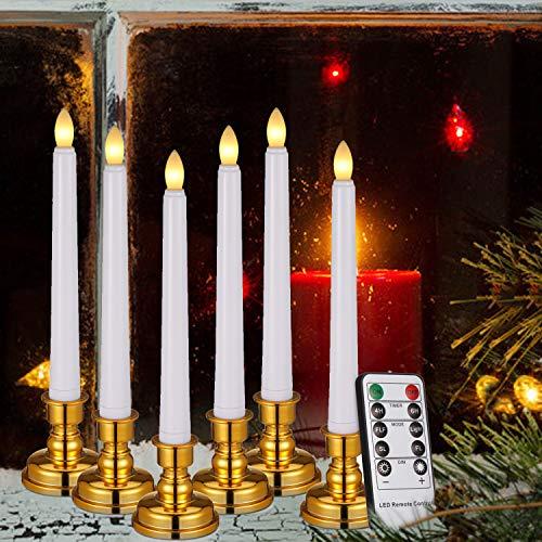 6er Set LED Tafelkerzen Stabkerzen mit Fernbedienung & Kerzenhaltern Timer Dimmbar warmweiß die bewegliches Licht flackern für Hause Hochzeit Schaufenster Bar Festival Dekoration (Weiß, 6x)