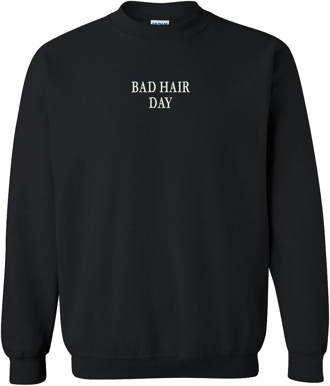 Trendy Apparel Shop Bad Hair Day Embroidered Crewneck Sweatshirt