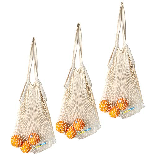 3 Pack 100% Cotton Mesh Produce Bags  SURDOCA Reusable Grocery Bags Net String Shopping Tote Bag