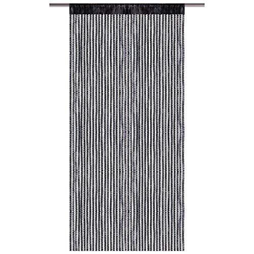Arsvita Fadenvorhang Metallik-Optik mit Stangendurchzug, Türvorhang 140x250cm (Schwarz)