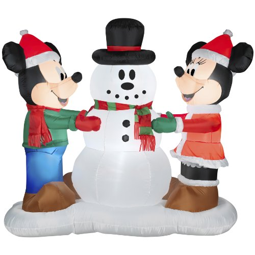 Inflatable Mickey Mouse and Minnie with Snowman Christmas Decoration