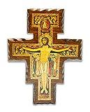 La Balestra Crocifisso San Damiano in Legno - da Parete -decori in Oro - Prodotto in Umbria Italy - 20X26.7 cm
