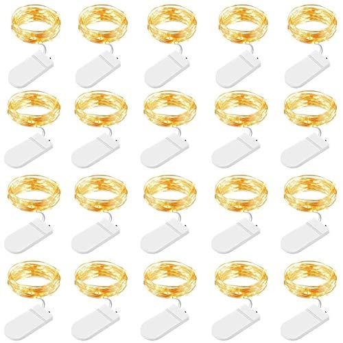 Luci LED a Batteria, 20 Pezzi Luci Stringa 1M Filo di Rame con 10 LEDs Catena Luminosa Natale per Esterni e Interni, Casa, Feste, Matrimonio, Bianco Caldo