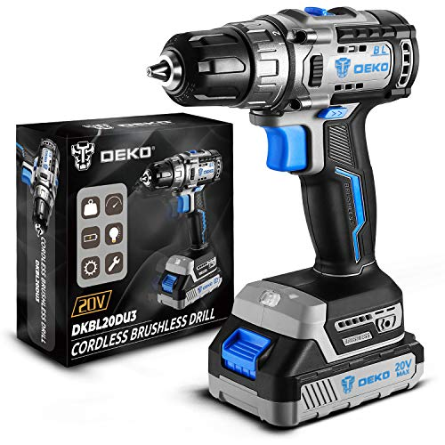 Cordless drill set, DEKO 20V Brushless Drill Driver Kit, 3/8-Inch Keyless Chuck Drill Driver, 371 In-lbs Torque, 18+1 Torque Setting, 2-Variable Speed, Power drill with 1.5A Battery