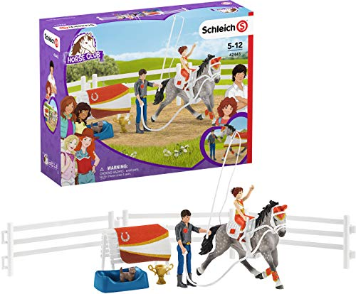 Schleich 42443 Horse Club Spielset - Horse Club Mias Voltigier-Reitset, Spielzeug ab 5 Jahren