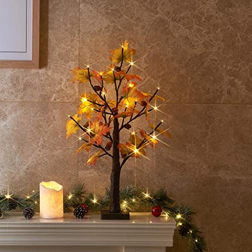 Vanthylit 2FT Lighted Maple Tree with 24 Warm White LED Lights Thanksgiving Maple Leaves Autumn Tree Decoration