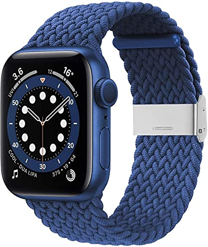 MPWPQ Correa trenzada para reloj Apple de 38 mm, 40 mm, 42 mm, 44 mm, suave y elástica con correa elástica ajustable compatible con iWatch Series SE 6/5/4/3/2/1, color azul y blanco
