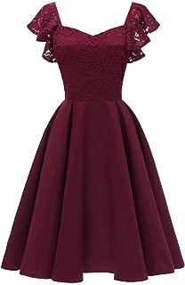 Floral Lace Cocktail Swing Dress for Women Vintage Princess Neckline Party Dresses