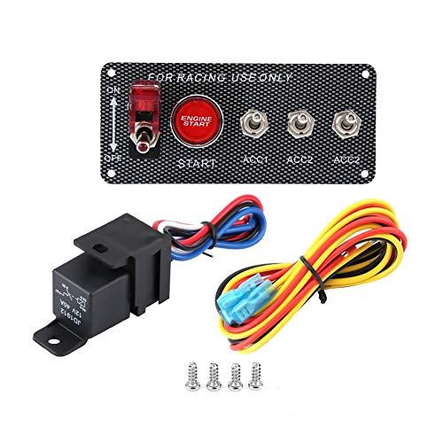Panel de interruptor de encendido, panel de interruptor de encendido de motor de coche de carreras de 12 V, botón de arranque, fibra de carbono para coches de carreras de 12 V y RV