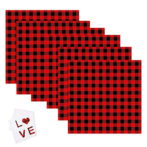Christmas Buffalo Plaid HTV Sheets Xmas Iron On Appliques Black Red Checked Heat Transfer Vinyl Stickers with Back Adhesive for Clothing Decoration, DIY Crafts Projects(6 Sheets Iron On Vinyl)