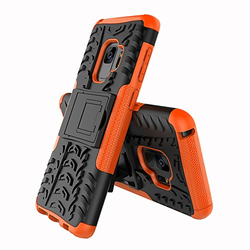 FOLICE Samsung Galaxy S9 Case Tough Rugged Dual Layer Protective Case with Kickstand (Orange)
