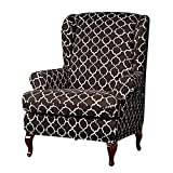 Anchengcraft 2PCS Wingback Chair Slipcovers Stretchy Wingback Armchair Covers Spandex Polyester Sofa Covers Printed Furniture Protector for Living Room Wingback Chair(07)