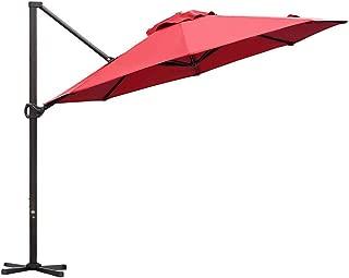 Abba Patio Offset Cantilever Umbrella 11-Feet Outdoor Patio Hanging Umbrella with Cross Base, Dark Red