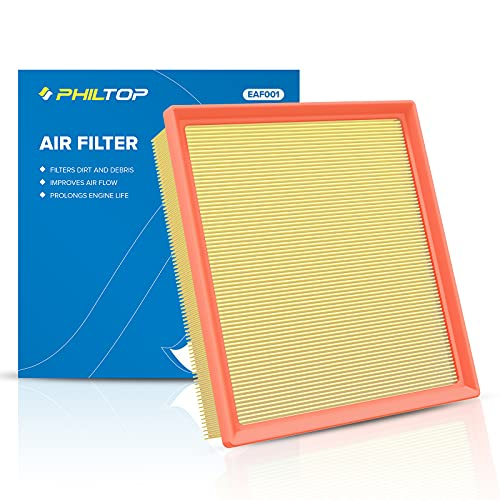PHILTOP Engine Air Filter, Panel Air Filter for Sienna Camry Highlander Avalon Durango Grand Cherokee ES350 NX200T NX300 RX350, Compatible with CA10755 OEM Engine Filter