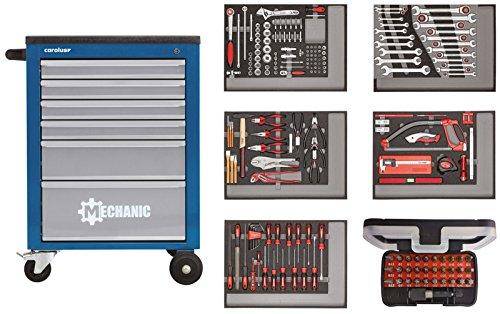 CAROLUS 2246.2803 Werkstattwagen Mechanic blau mit Werkzeugsatz 2250.5803, 222-tlg