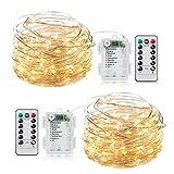 Minetom 2 Pack 33ft 100 LED Fairy String Lights Battery Operated...