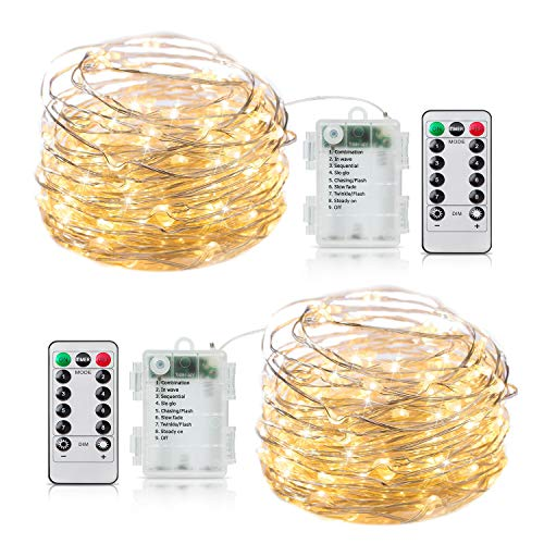 2 Pack Fairy Lights Battery Operated, 20Ft 60 LED String Lights with Remote Timer 8 Lighting Modes Waterproof Silver Wire Twinkle Lights for Indoor Bedroom Garden Christmas Party Decor Warm White