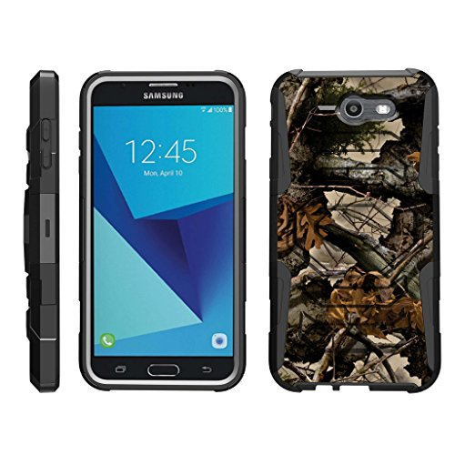 TurtleArmor   Compatible with Samsung Galaxy J7 2017 Case   J7 Prime   J7 Sky Pro [Octo Guard] Dual Layer Case Holster Belt Clip Sturdy Kickstand Cover - Tree Leaves Camouflage