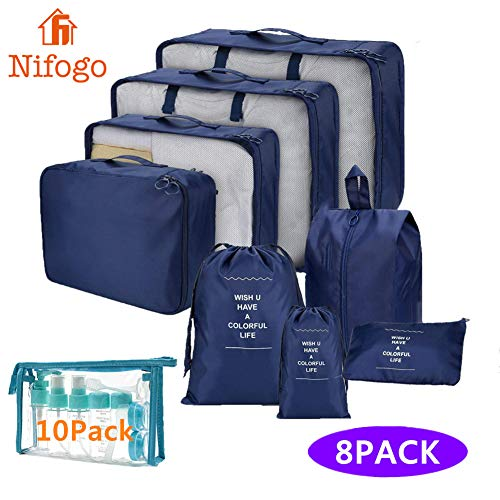 Nifogo Organizadores de Viaje para Maletas 8Pcs, Organizador de Equipaje, Cubos de Embalaje de Viaje, Bolsas Equipaje Aalmacenamiento para Zapatos, Ropas y Cosméticos, Azul(8Pcs + 10 Botellas Viaje)